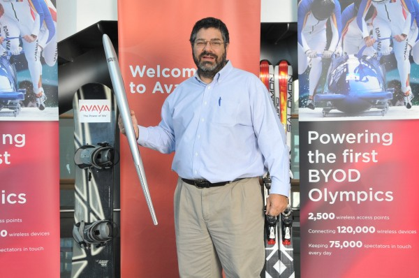 Dave with the Sochi 2014 Torch at Avaya.