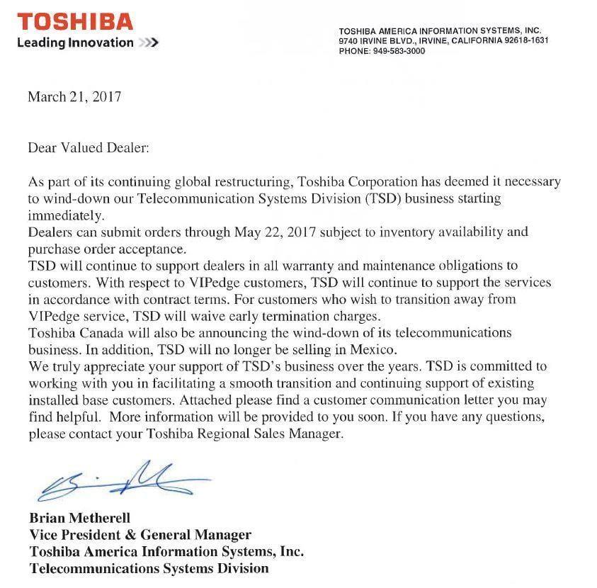 Toshiba Exits Telecommunications Talkingpointz