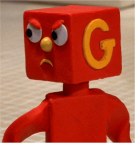 red character with orange G on his head